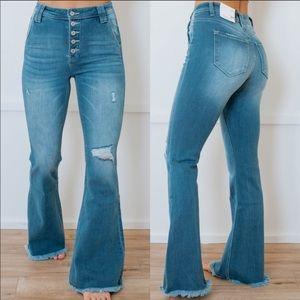 High Rise Waist Denim Jeans Bell Bottom Distressed